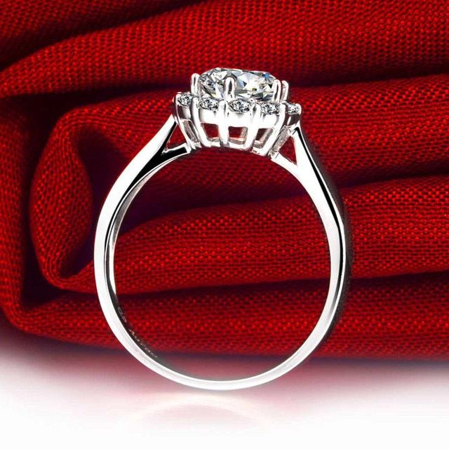 Luxury GIA Diamond Women Engagement Ring 0.5+0.23ct GIA Diamond Jewelry 18K White Gold Handmade Wedding Band
