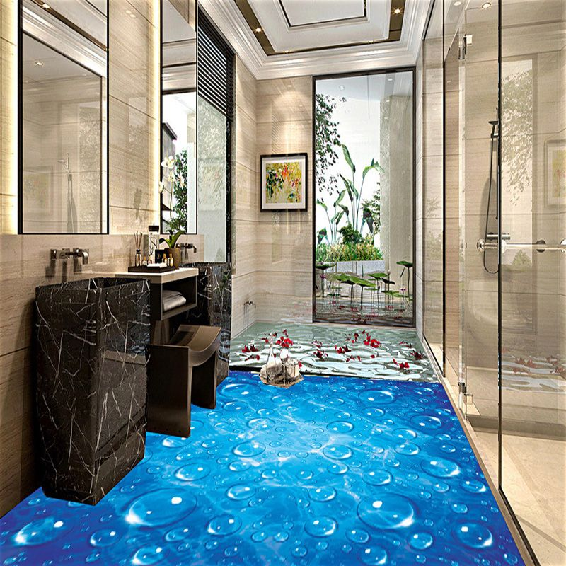 Custom Waterproof Wallpaper For Bathroom Blue Wave Water Droplets 3D PVC Wear Non-Slip Wall Paper Kitchen Vinyl Floor Wall Mural