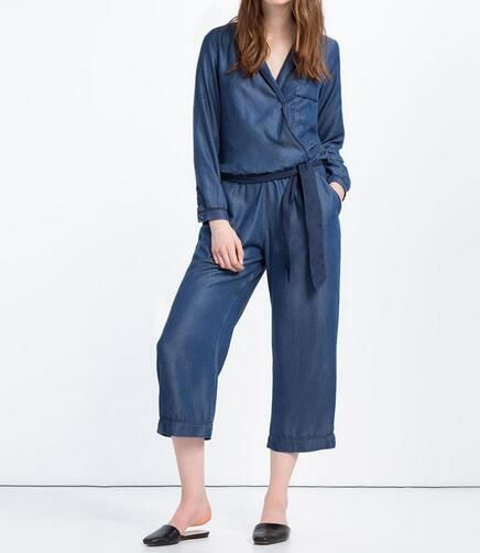 VogaIn 2016 New Women Blue Denim Tencel Cropped PAJAMA-STYLE JUMPSUIT V-neck Long sleeves With Belt