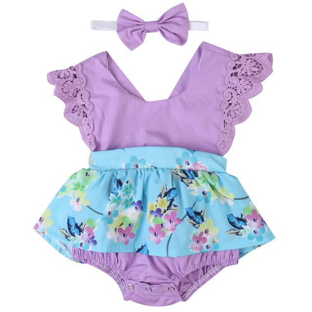 Baby Girl Flower Tops Headband Bow 2pcs Outfits Newborn Baby Girls Clothing Bodysuit Jumpsuit Clothes Set