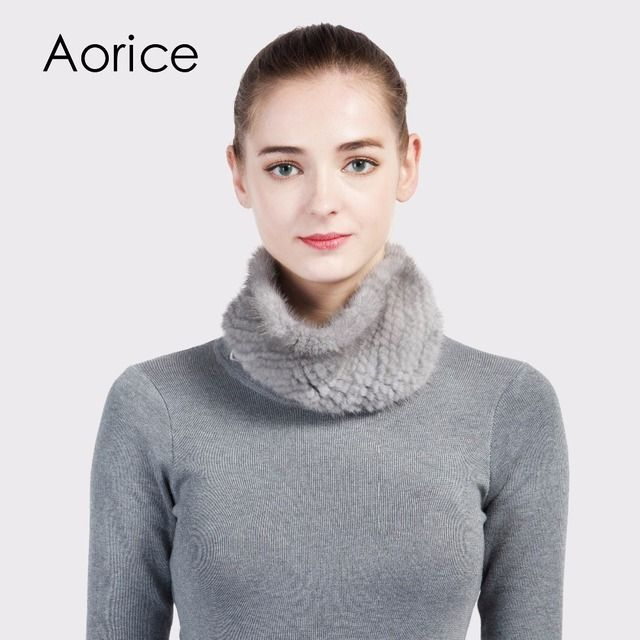 Aorice SF716  Rex real mink fur scarf women's brand new genuine fur scarves rings neckerchief  wrap hair head band