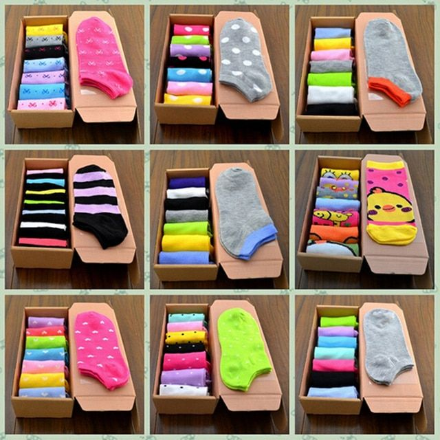7 Pairs /Set Cotton Crew Socks Lot Patterns  for Women Men Harajuku Dress Cotton Ankle Boat Low Cut Week Short Sock