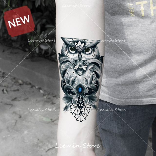 New product ! owl temporary tattoo diamond cool pattern for women and man