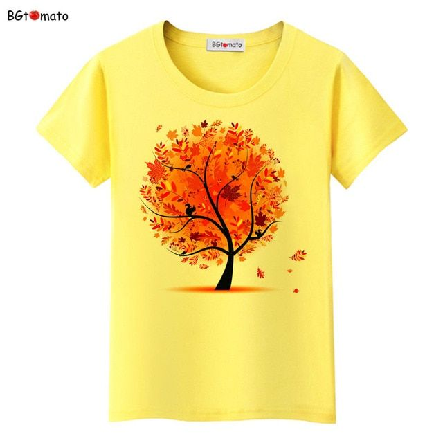 BGtomato T shirt Beautiful Maple 3D T shirt women hot sale personality art shirts Brand Good quality soft casual top tees