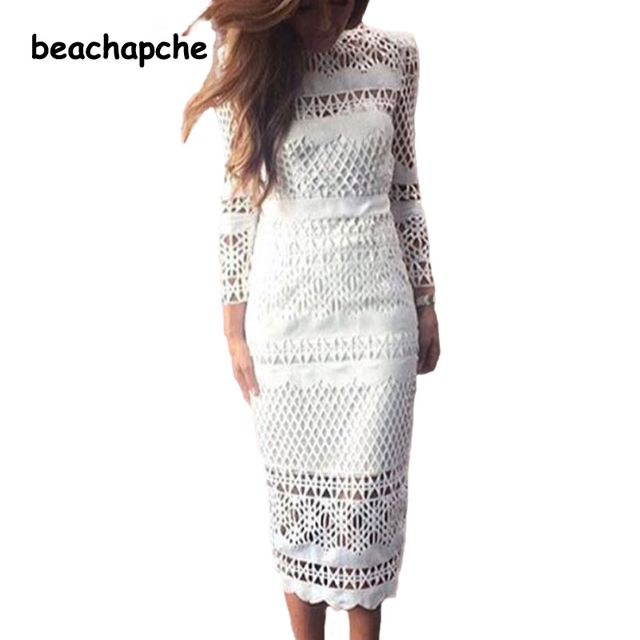 2016  White Lace Dress Women's High Quality long Sleeve Daisy Floral Embroidery Cutout Elegant Dress Hollow Out