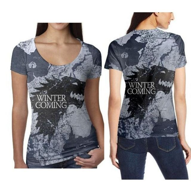 Game of Thrones Printed T Shirts Women Harajuku Sexy 3d T-shirts Women Vintage Fashion Short Sleeve Shirts