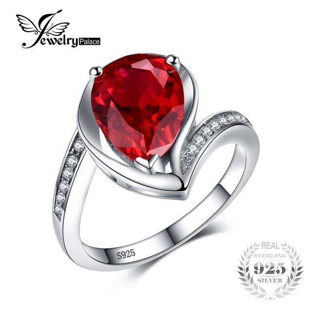 JewelryPalace Water Drop 5ct Created Ruby Anniversary Promise Ring Pure 925 Sterling Silver Brand New Fine Jewelry For Women