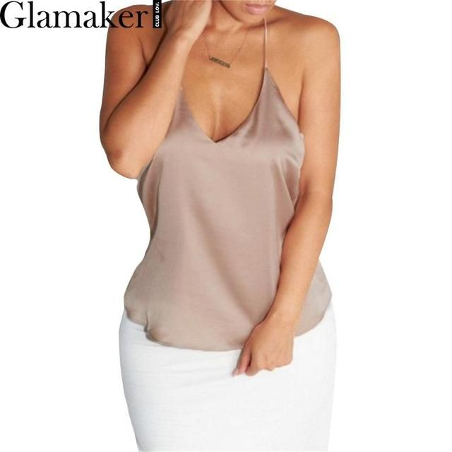 Glamaker Sexy deep v neck satin summer camis Women elegant party halter crop top 90's girls cool casual short strapless tank top