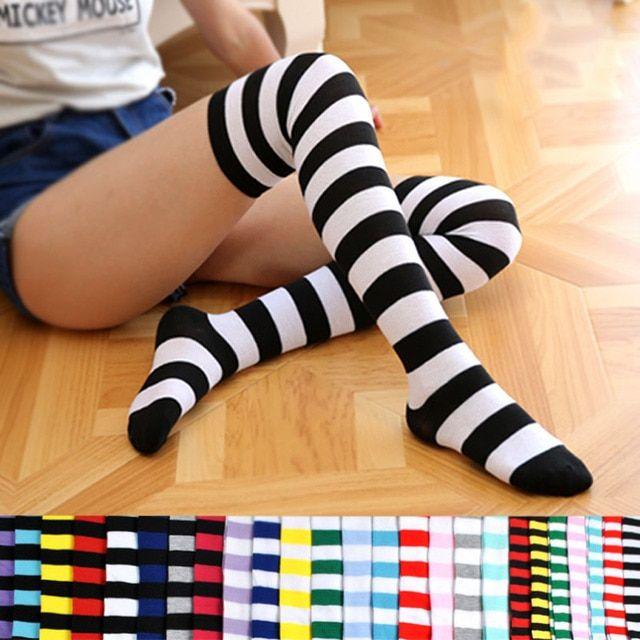Ms blue and white leggings compression cheap thigh highs striped cotton thigh highs comfy stocking stripe