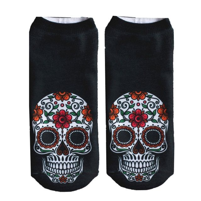 2016 Hot 3D Skull Printed Socks Cute Low Cut Ankle Short Sock Unisex Fashion Casual Sock Women Clothing Accessories