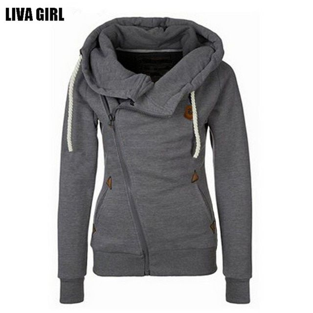 Winter Autumn Women Hoodies Sweatshirts Long Sleeve Hooded Jacket Warm Inclined Zipper Design Sweatshirt Women Sudaderas