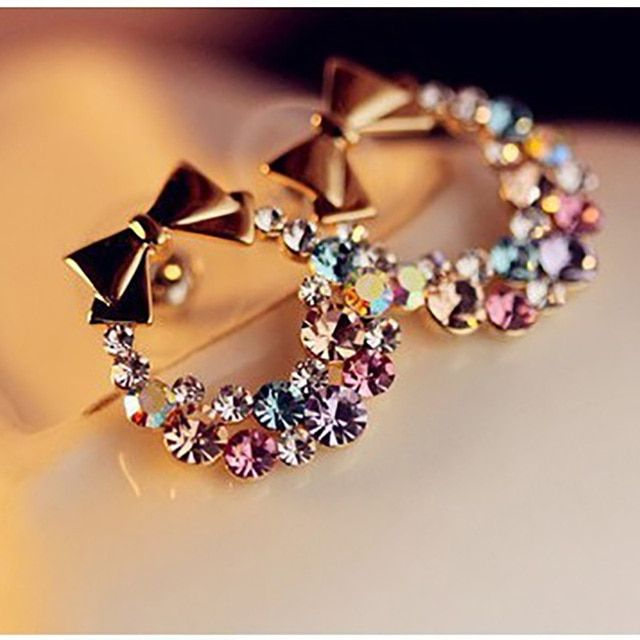 Women Imitation Colorful Rhinestone Bowknot Stud Earrings Gold Crystal Cubic Zirconia Bow Earring Female Fashion Vintage Jewelry