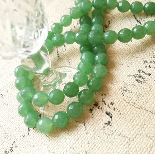 8MM 98Pcs Vintage Green Natural Stone Ground Brilliant Shape Loose Bead Strands Jewelry Beads