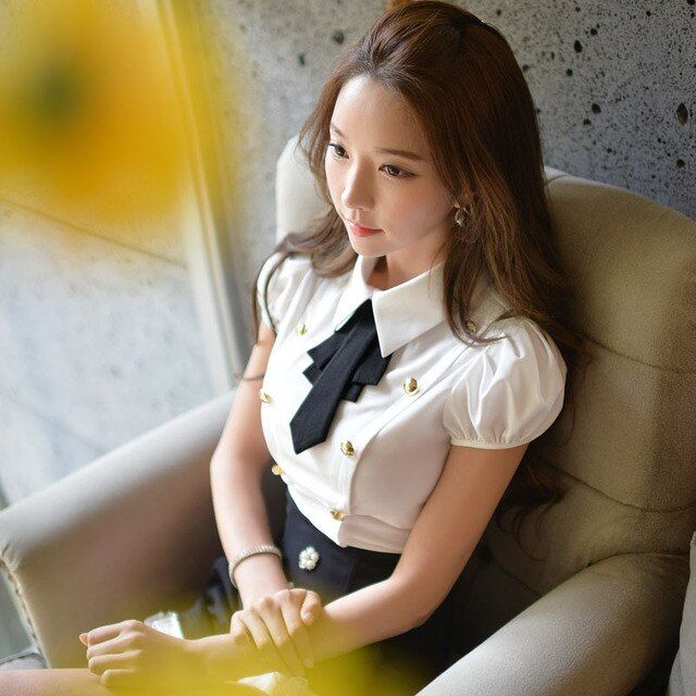Dabuwawa short sleeves white blouse