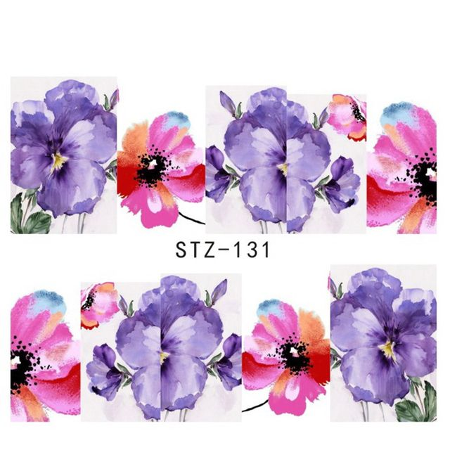 1sheets Purple and Red Printing Nail Art Image Stickers Nail Decals Water Transfer Full Wraps Foils Beauty Care Tools STZ131