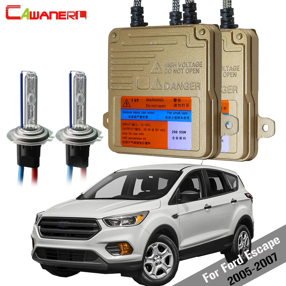 Cawanerl 55W Car Canbus HID Xenon Kit No Error Ballast Bulb AC Headlight Low Beam 3000K-8000K For Ford Escape 2005-2007