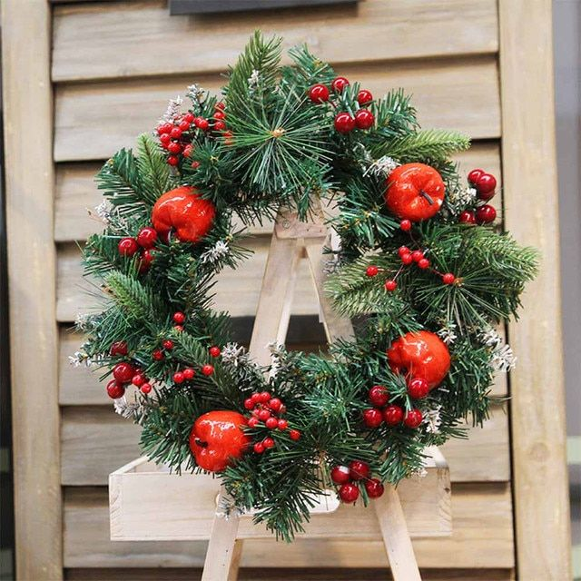 30CM Christmas Wreath Artificial Apple Berry Ornament Wall Door Decoration Handmade Garland guirlanda de natal para porta