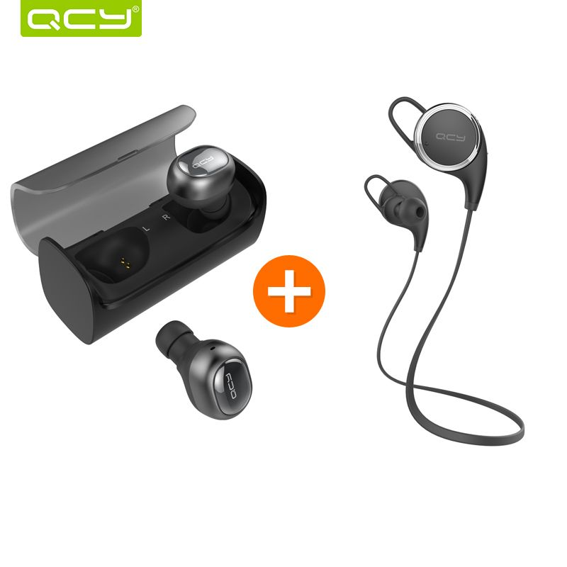 QCY Q29 3D stereo earphones mini wireless earbuds bluetooth 4.1 noise canceling earbud and QY8 headset