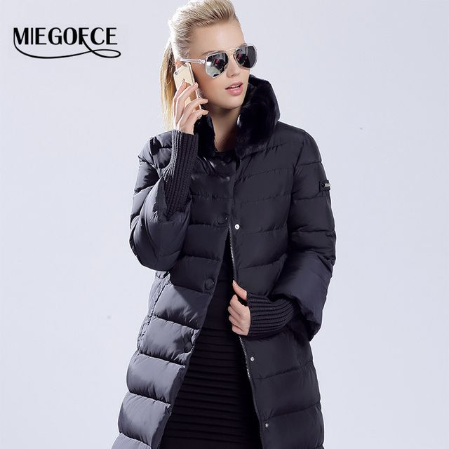 MIEGOFCE 2015 winter duck down jacket  women  long coat parkas thickening Female Warm Clothes Rabbit fur collar High Quality