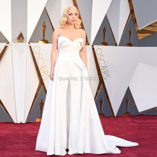 2016 88th Oscar Lady Gaga Red Carpet Dresses White Two Piece Pant Suit Celebrity Evening Dress Formal Party Gowns Vestido Festa