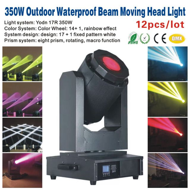 12pcs/lot 350W Outdoor Waterproof Beam Moving Head Light,Outdoor Beam Sky Tracker,Party KTV Bar Club DJ Disco Stage Light