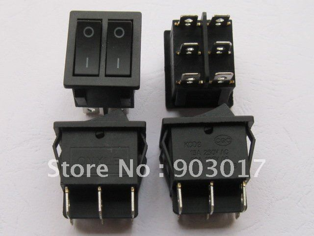 12 pcs Black ON/OFF DPDT Rocker Switch KCD3 6 Terminal