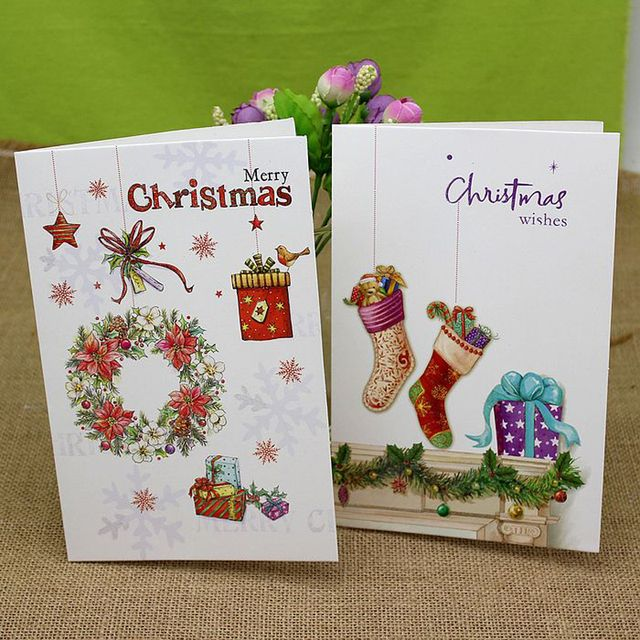 (8 pieces/set)Korea Design Hot Beautiful Cartoon Christmas Tree Greeting Cards Handmade Postcards Custom Xmas Gift Card