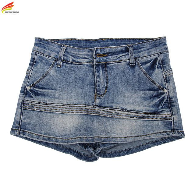 Women Skort Shorts 2018 Summer Fashion Style Sexy Ladies Shorts Skirt Plus Size Mini Skorts Female Blue Color Womens Short Jeans