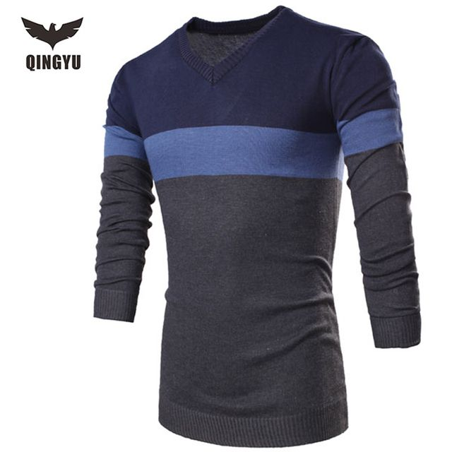 Male Sweater Pullover Men 2016 Male Brand Casual Slim Sweaters Men Fashion Spell Color Stripes Hedging V-Neck Men'S Sweater 2XL