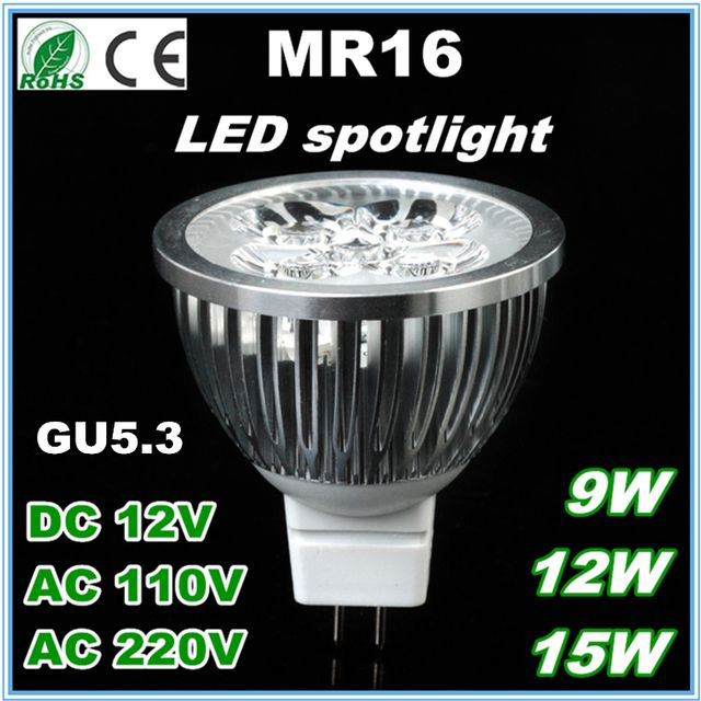 High Bright MR16 LED Bulb Lamp GU5.3 Light Real 5W 4W 3W DC 12V AC 220V DC 12V Dimmable LED Spotlight Downlight Free Shipping 20