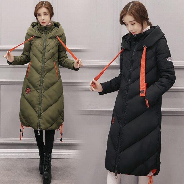 Women Winter Long Thick Warm Oversize Down Cotton Coats Women Winter Clothing Grey Army Green Black