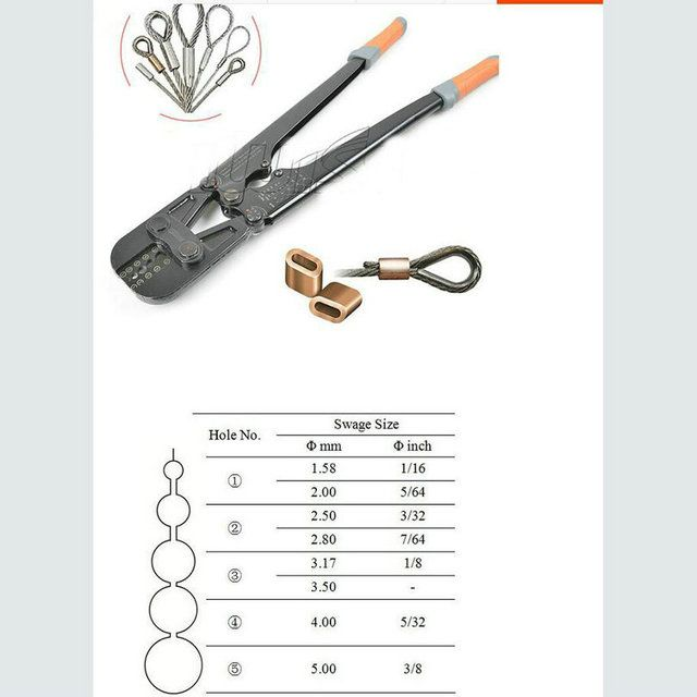 1PC/LOT Presszange Ferrule Press Crimping Tool+Steel Wire Rope Cut For 1.5-5.0MM Wire Rope And All Types Ferrule