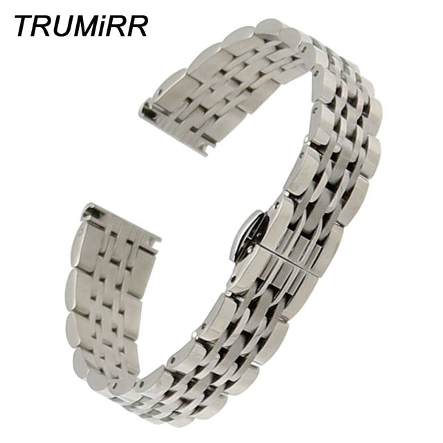 14mm Stainless Watchband + Tool for Tissot 1853 Hamilton Rado Mido Oris Women's Watch Band Butterfly Buckle Strap Wrist Bracelet