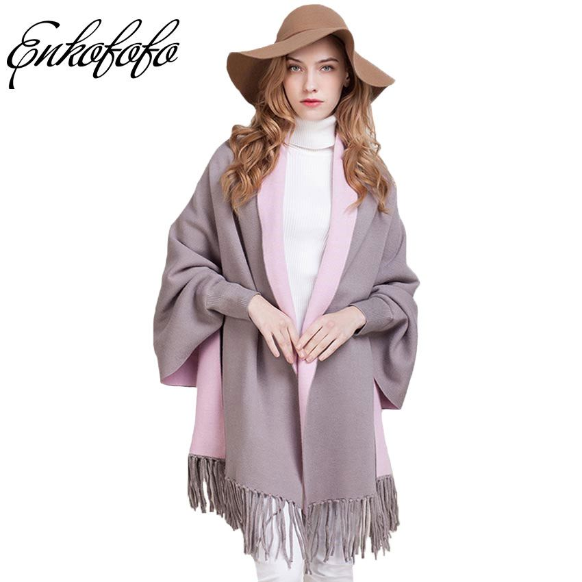 Women Cashmere Cardigan Knit Sweater Autumn Winter Coats Full Tassel Casual Women's Oversized Loose Long Shawl Poncho Sweaters
