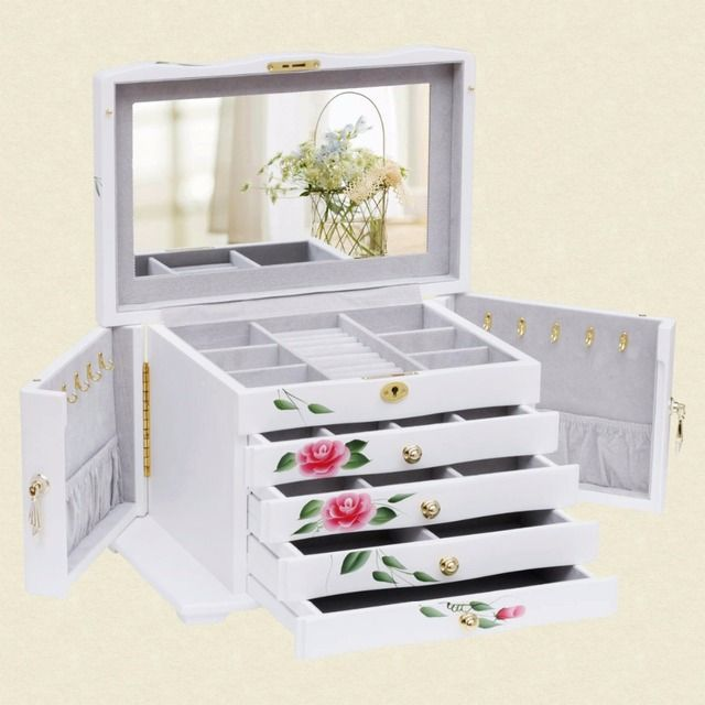 Big 5-Layers Door-Shaped Butterfly Luxury  Wooden Jewerly Case For Necklace Storage Ring Show Bracelet Box With Lock zs035