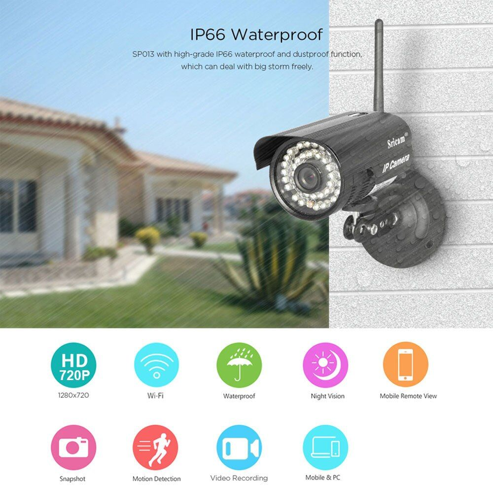 Sricam SP013 HD 720P IP Camera Infrared Wireless Security CCTV Camera ONVIF  H.264 WIFI Night Vision Motion Detection IR