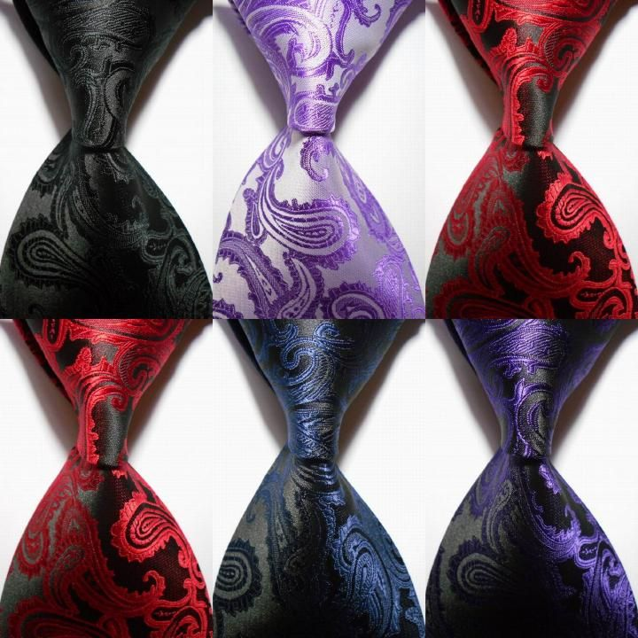 New Silk Classic Paisley Mix Color JACQUARD WOVEN Silk Men's Tie Necktie 100% Silk Men Formal Business Wedding Party Gravatas