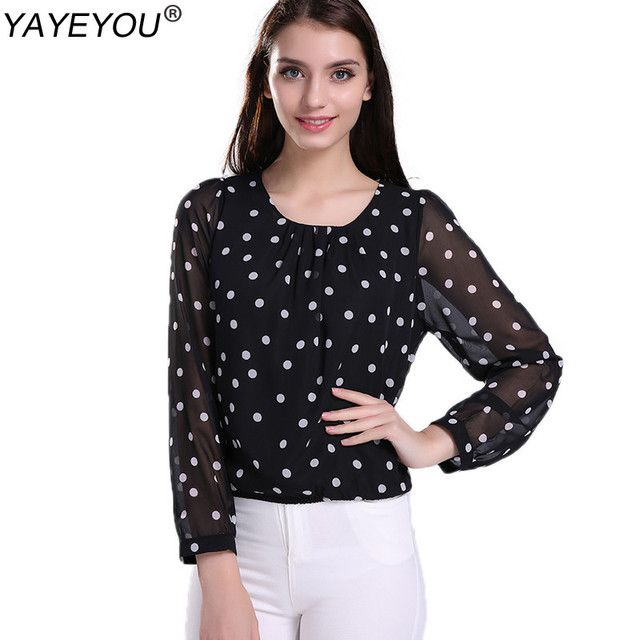YAYEYOU Spring Autumn Black Women Blouses Polka Dot Chiffon Blouse Blusa Feminina Lady Tops O-Neck Long Sleeve Woman Clothing