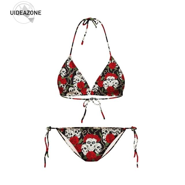 summer style New Fashion women floral sexy swimwear set vintage 3d Rose Skull Printed top & bottom swimsuit beachwear