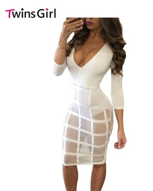 2016 New Party Club Women Jumpsuit Sexy Fashion Black White Caged Skirt Long Sleeve Bodysuit LC64218