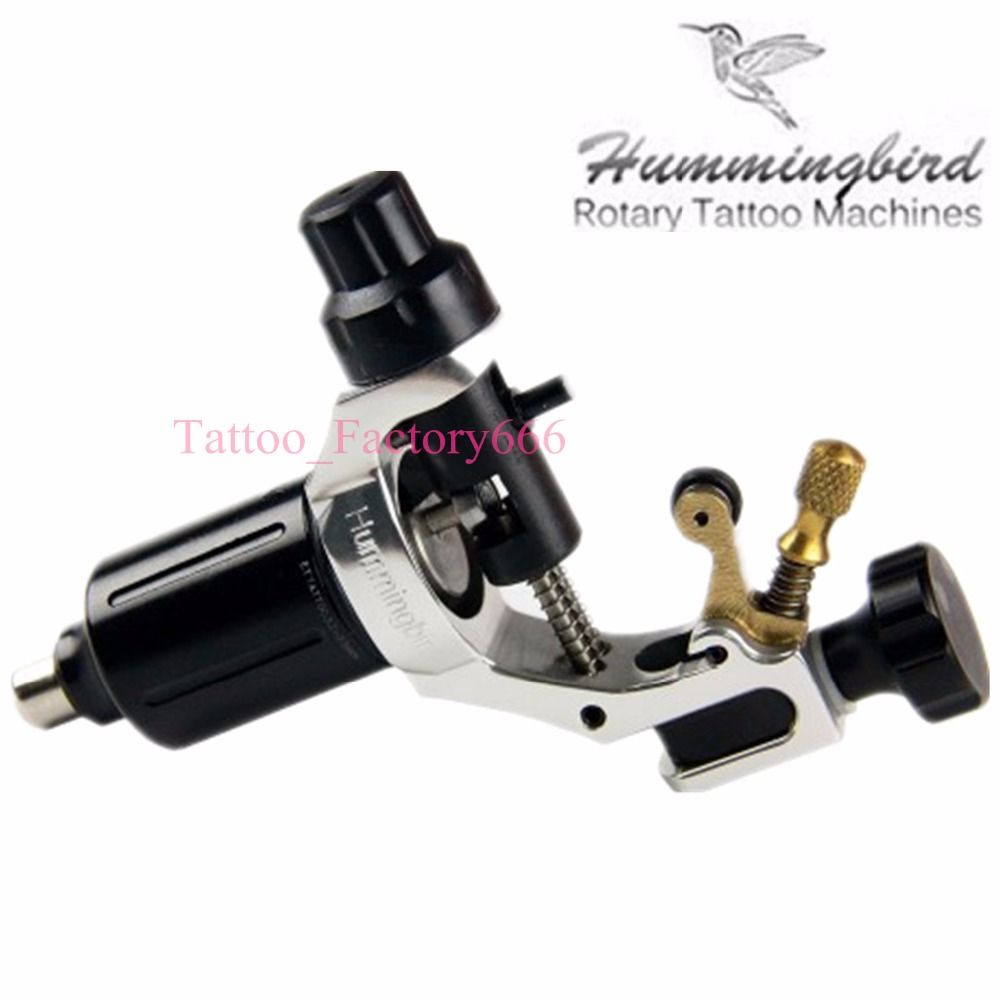 Original Hummingbird Silver Gen 1 Rotary Tattoo Machine Swiss Motor Free RCA Cord