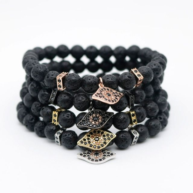 Male Black Volcano Rock Lava Stone Bead Bracelet Cubic Zirconia CZ Gold-color Evil Eye Bracelets Men Pulseira Masculina L-2