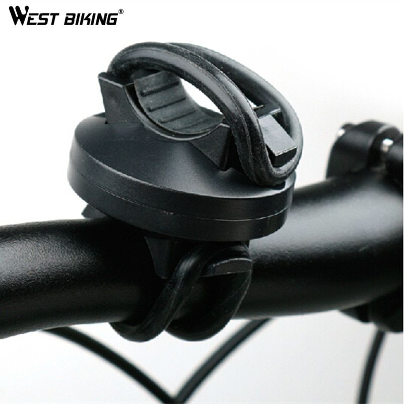 WEST BIKING Holders Lamps Clip Bicycle LED Light Holder Clamp Torch Rotating Bike Collet Rubber Bicycle Bracket Light Holder