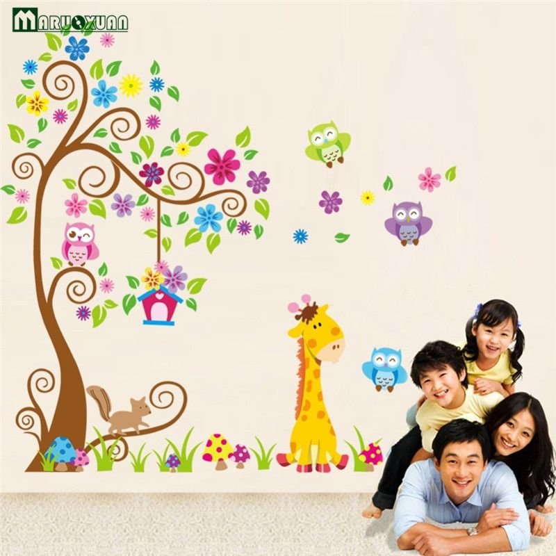Animal Giraffe Owl Tree Wall Decals Home Decoration Wallpaper Living Room Sofa Vinyl Wall Stickers For Kids Rooms Home Deco
