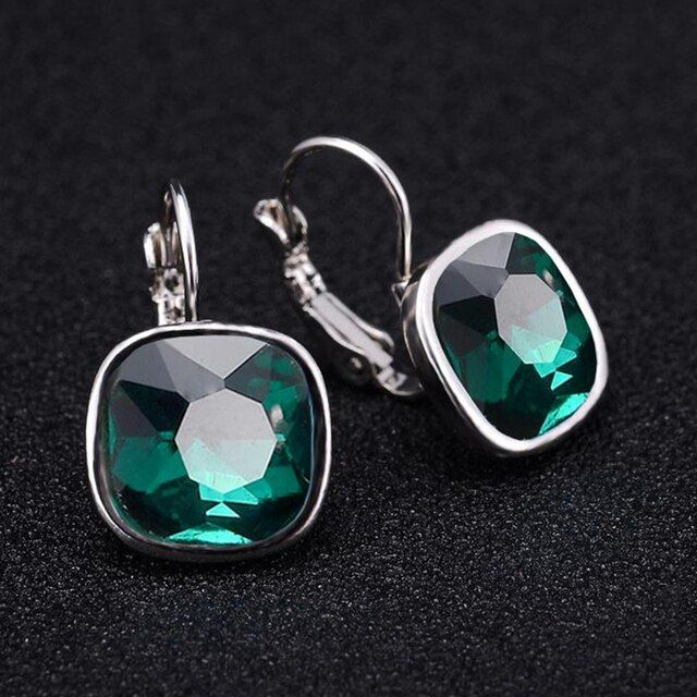 Crystal Glass Drop Earrings For Women Girls Silver Color Alloy Female Dangle Hanging Earring Fashion Wedding Ear Jewelry Brincos