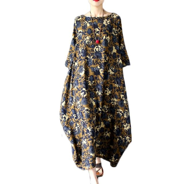Vintage Plus Size Spring Cotton Linen Dress Women O-neck Casual Print Long Maxi Dress Vestidos Robe Dresses 2017 Summer Style