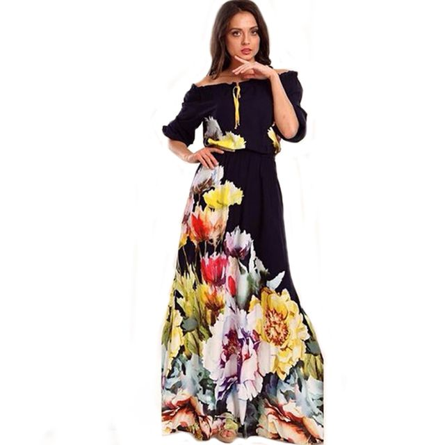 2017 New Fashion Women Maxi Dress Loose High Waist Strapless Summer Floor Length Dresses Casual Florals Print Elegant Vestidos