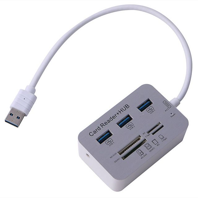 Computer Accessories New Portable Card Reader 3 Port Aluminum USB 3.0 Hub With MS SD M2 TF Multi-In-1