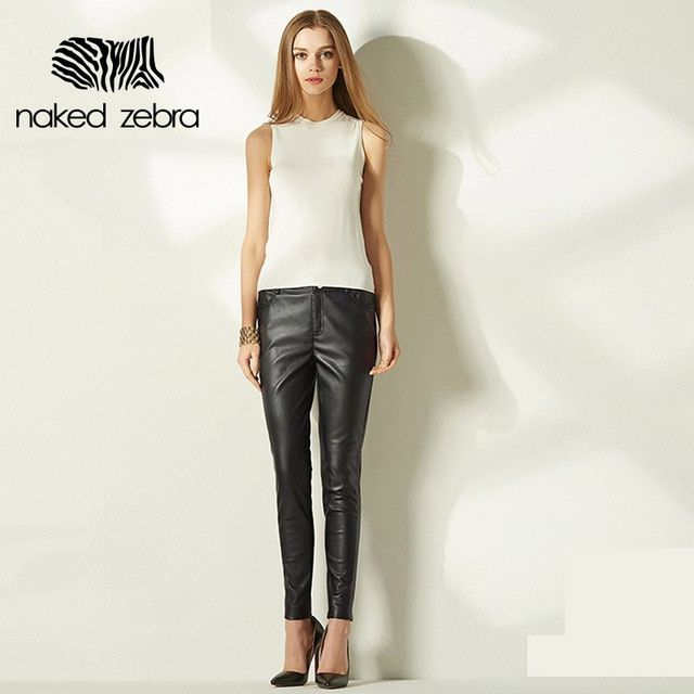 Naked Zebra 2016 Woman Leather Pants Pure Color Fashion Party Club Pu Pencil Trousers With Pockets Regular Female Feet Pants