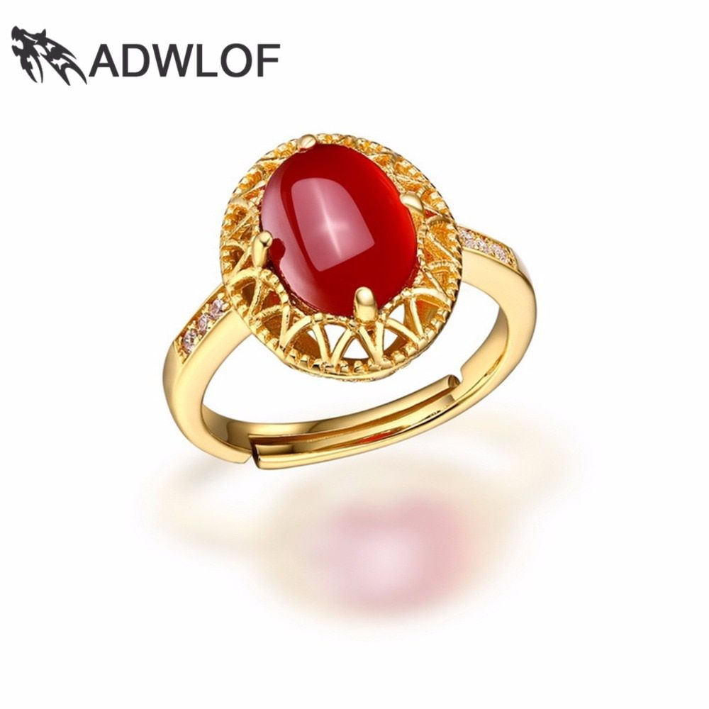ADWLOF 2.80CT Oval Cut Shine Natural Red Agate Rose Quartz Rings 925 Sterling Silver for Women Engagement Fine Jewelry